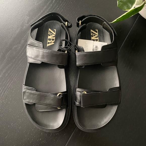 Brand New Black Leather Zara Sandals - Size 8